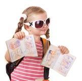 Child holding international passport. Stock Photo