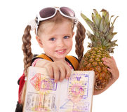 Child holding international passport. Stock Photos
