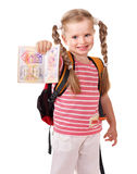 Child holding international passport. Stock Photo