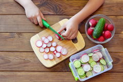Child holding a kitchen knife and cut a radish. Child prepares a vegetable salad Royalty Free Stock Photos