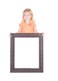 Child holding large blank frame Royalty Free Stock Photos