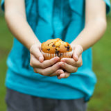 Child holding muffin in hands Stock Images