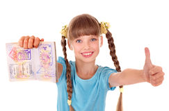 Child holding  passport. Stock Image