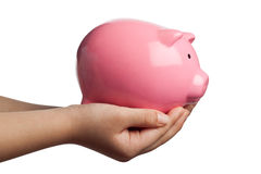 Child holding a piggy bank Royalty Free Stock Photo