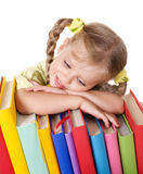 Child holding pile of books. Stock Photography