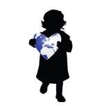 Child holding planet earth illustration. Child holding planet earth heart illustration Stock Image