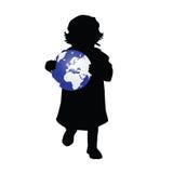 Child holding planet illustration Royalty Free Stock Photo