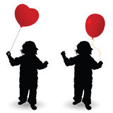 Child holding red balloon heart vector silhouette Royalty Free Stock Photo
