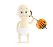 Child holding a red barbell one hand Royalty Free Stock Photography