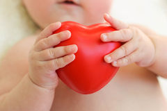 The child holding a red heart.  Royalty Free Stock Photos