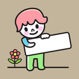 Child holding signs vector illustration. Happy boy holding blank paper, smiling boy holding an empty signage, vector illustration Royalty Free Stock Photography