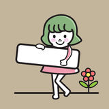 Child holding signs vector illustration. Happy girl holding blank paper, smiling girl holding an empty signage, vector illustration Stock Image
