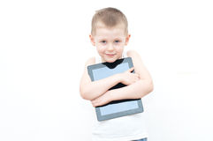 Child holding tablet PC Royalty Free Stock Photos