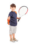 Child holding a tennis racket and giving thumb up. Full length portrait of a child holding a tennis racket and giving thumb up  on white background Stock Photos