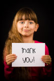 Child holding Thank You sign Royalty Free Stock Image