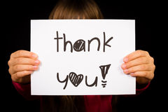 Child holding Thank You sign Royalty Free Stock Photos