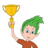 Child holding Trophy Stock Photo