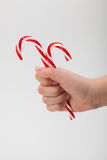 Child holding two candy canes Stock Photos