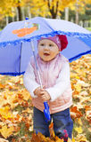 Child holding umbrella Stock Images