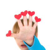 Child Holding Valentine's Day Hearts Royalty Free Stock Photos
