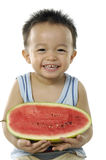 Child holding watermelon Stock Photos