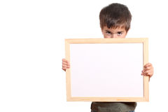 Child holding a white banner Royalty Free Stock Photo