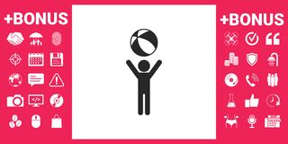 Child holds children toy, bouncy ball - icon. Element for your design Royalty Free Stock Image