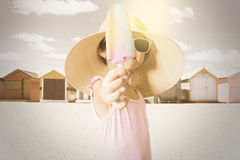 Child holds ice cream with instagram filter Royalty Free Stock Images
