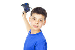 Child holds the joystick Royalty Free Stock Photo