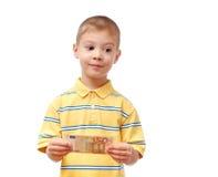 Child holds money stock photography