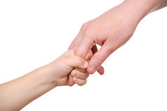 The child holds mum for a finger Stock Photography