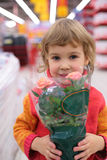Child  holds pot with flower in shop Royalty Free Stock Image