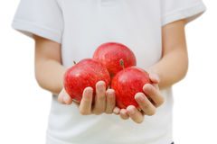 Child holds red apples in hands, isolated at white background Stock Photo