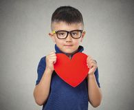 Child holds red heart Stock Image
