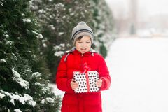 The child holds a xmas new year gift in his hands royalty free stock photography