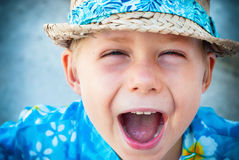 Child Holidays Clothes Shouts Laughs Camera Stock Images