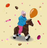 Child on a horse Stock Images