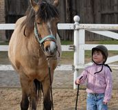 Child and horse. A young girl stands next to a horse in a farm, looking up at the animal Royalty Free Stock Photo