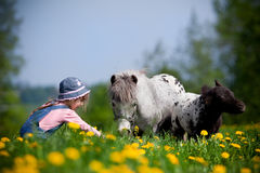 Child with horses in field. Small girl feeding horses in the meadow at spring Stock Image