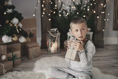 Cute little boy during Christmas Stock Photography