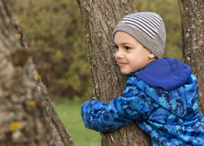 Child hugging and climbing a tree Stock Image