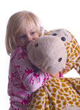Child Hugging Giraffe Royalty Free Stock Images
