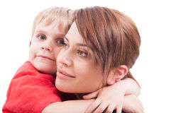 Child hugging his mother Stock Photography
