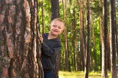 Child hugging pine Stock Image