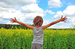 Child hugging the world Stock Photo