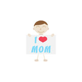 Child, I love mom. I love mom flat icon, child, Boy loves mother vector graphics, a colorful solid pattern on a white background, eps 10 Stock Illustration