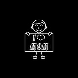 Child, I love mom. I love mom line icon, child, Boy loves mother vector graphics, a linear pattern on a black background, eps 10 Vector Illustration