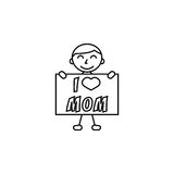 Child, I love mom. I love mom line icon, child, Boy loves mother vector graphics, a linear pattern on a white background, eps 10 Vector Illustration