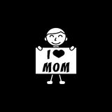 Child, I love mom. I love mom solid icon, child, Boy loves mother vector graphics, a filled pattern on a black background, eps 10 Royalty Free Illustration
