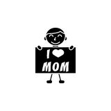 Child, I love mom. I love mom solid icon, child, Boy loves mother vector graphics, a filled pattern on a white background, eps 10 Stock Illustration